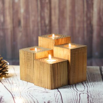 Reclaimed Wood Candle Holders - Set of 4