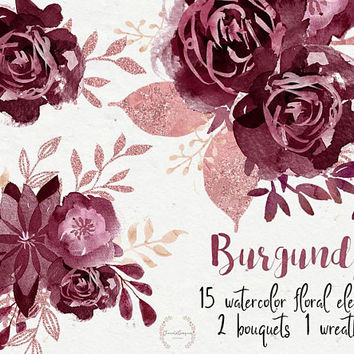 Burgundy | flowers watercolor, digital PNG, floral wedding invite, wedding diy elements, burgundy flowers, rose gold, glitter, flowers