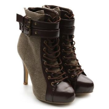 Ollio Women's Winter Shoe Lace Up Military Buckle High Heel Multi Color Ankle Boot
