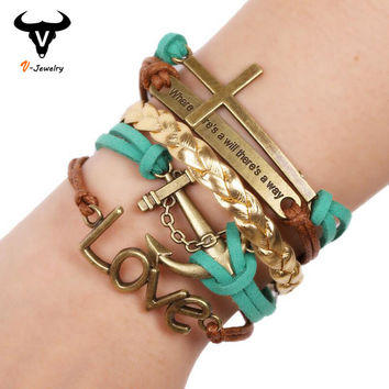 Original Multi Layer Bronze Anchor Female Bracelets Charm Hand Wristband Wrap Golden Leather Braided Wide Bracelets Cuff Bangle
