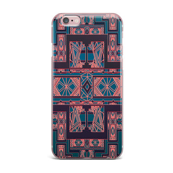 "Nika Martinez ""Golden Art Deco Blue & Coral"" iPhone Case"
