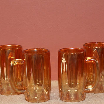 Imperial Carnival glass beer mugs
