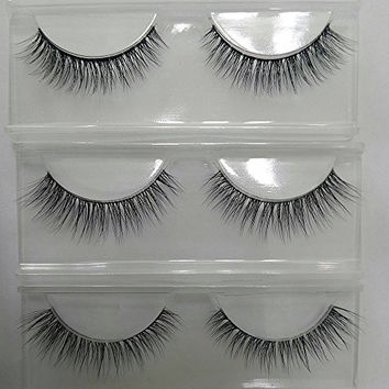 DE'LANCI 3 Pairs Natural Thick Authentic False Eyelash Soft Long Make Up Lash Curly Extensions Beauty Cosmetics Makeup Tools Kit