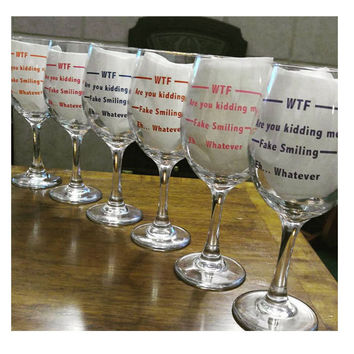 Wine Glasses ~ Any Color WTF Wine Glass ~ Christmas gift for coworker, girlfriend, December birthday gift ideas, As seen in Huffington Post