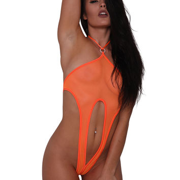 Sheer Orange Mesh Monokini - Sheer Clothing