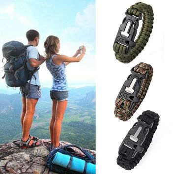 New Camping Hiking Climbing Paracord Bracelet Outdoor Survival Gear Kit Whistle Lifesaving Braided Rope Tactical Wrist Band