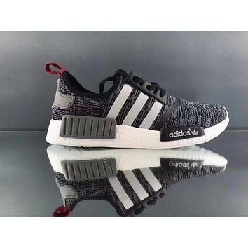 adidas nmd r1 3m reflective shoelace fashion trending running sports shoes nmd runner pk color black grey