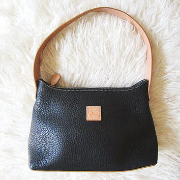 Vintage DOONEY & BOURKE Black LEATHER Made in Italy Handbag Shoulder Top Handle Purse