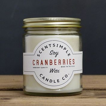 Cranberries Scented Soy Wax Candle