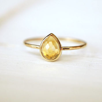 Citrine Ring, 14k Stack Ring, Rose Gold Ring, Yellow Gold Ring, Pear Ring, Engagement Ring, Geometric Jewelry, November Birthstone, Gift