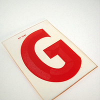 Vintage Marquee Letter Sign Red G Industrial Typography Salvaged Parts
