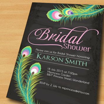 Bridal Shower invitation  Wedding Shower invitation Peacock Feather Invitation  Chic Invitation Card Design  - card 314