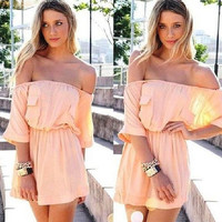 Pink Casual Off Shoulder Three Fourth Sleeve Elastic Waist Mini Dress