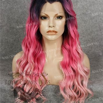 """24"""" Synthetic Lace Front with Wave Texture in Rooted Hot Pink to Pastel Pink Ombre"""