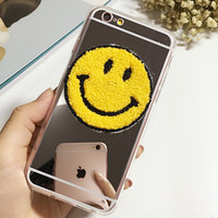 Cosmetic Mirror Smiling Face Case Cute Cover for iphone 7 7 Plus iphone se 5s iphone 6 6s Plus Cases + Gift Box