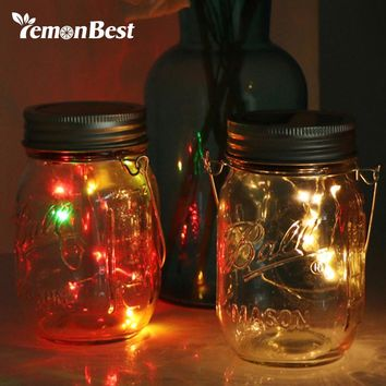 Solar RGB 10-LED Glass Bottle Light Waterproof Jar Lamp Coppoer Light with Handle Flashing and Gradual Change for Party Wedding