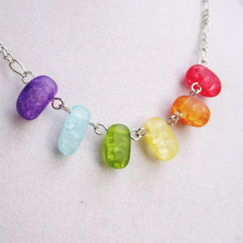 Sea Glass Rainbow Glass Jelly Bean Necklace On Silver Chain