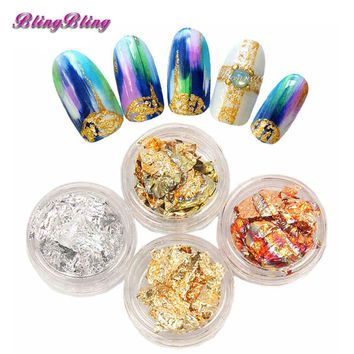 Blingbling 4Boxes Shinee Flake Nail Art Loose Glitter Sparkles Nail Art Stickers Metallic Gold Leaf Silver Holo Foil For Nails