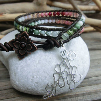 Spring Sakura Cherry Blossom Leather Wrap Japanese Powerstone Layer Gemstone Precious Stone Bracelet by Off on a Whim made in Japan