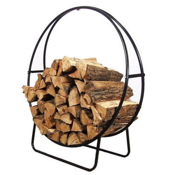Round Steel Firewood Log Holder in Black