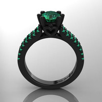Exclusive Classic 14K Black Gold 1.0 Ct Emerald Solitaire Engagement Ring R1027-14KBGEM