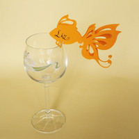 50 Place Cards Wine Glass Decor Gold Fish Original by MamaTita