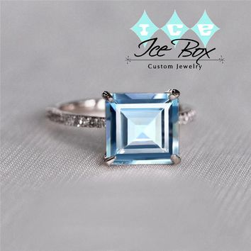 Asscher Cut Aquamarine Engagement  Ring -  2.28ct, 8mm Asscher Cut Aquamarine set in a 14k Rose Gold Diamond Setting
