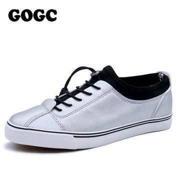 GOGC 2017 Women Flat Shoes Sneakers Breathable Ladies Leather Shoes Autunm Creepers Ca