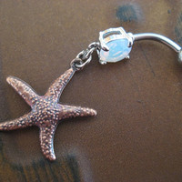 Star Fish Belly Button Jewelry Ring- Double Sided Starfish Charm Dangle Navel Piercing Opal Bar Barbell