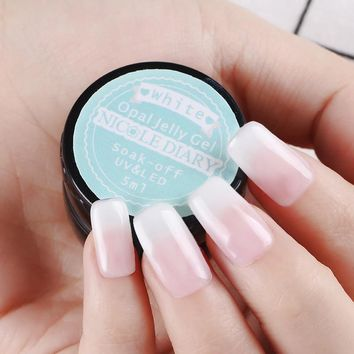 NICOLE DIARY Opal Jelly Gel Semi-transparent White UV Polish 5ml Soak Off Manicure Nail Art UV Gel Varnish