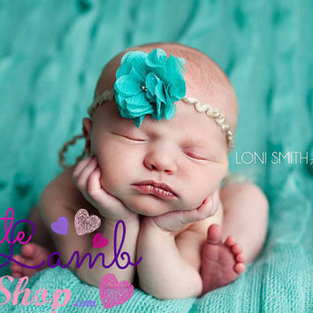 Teal Fancy Newborn Tieback Headband Couture Baby by littlelambshop