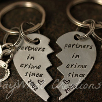 Custom Hand Stamped Best Friends Partners in by SayWhatCreations
