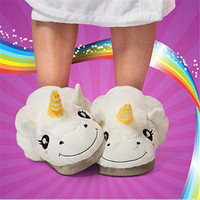 Winter Warm Indoor Slippers Cute Cartoon Plush Unicorn Slippers for Grown Ups White/Black Unisex Home Slippers DP862415