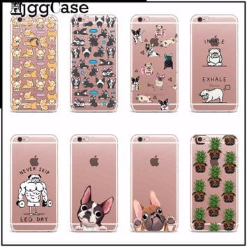 Cute Cartoon Animal Cat Dog BOULEDOGUE Phone Case For iPhone 6 6S 7 7 Plus 5S SE Crystal Clear Flexible TPU Protective Case Covr