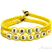 Tree Hugger Bracelets, Bright Yellow Hemp Jewelry, Eco-Friendly Gift - Made to Order
