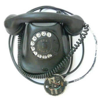 Vintage rotary phone - Retro phone - Old rotary telephone - Dial phone T TA-42 made in Bulgaria 1963 working. Retro black phone