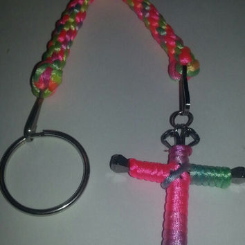 Rainbow Candy cane or solid wire horseshoe nail cross key ring with matching fob jewelry