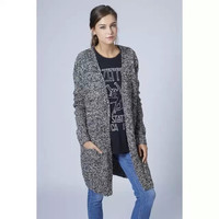 Gray Long-Sleeve Knitted Pocket Long Coat