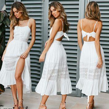 Fashion Women Hollow Out Swing White Dress Bandage Summer Holdiay Ladies Strappy Casual Beach Cami Dresses Sundress