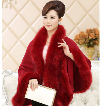 2016 New Autumn Winter Women High Quality Fake Fox Fur Collar Wool Cashmere Poncho Capes Knitted Cardigan Sweater Coat MY03