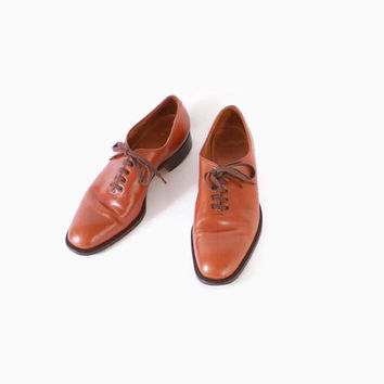 Vintage 60s Mens OXFORDS / 1960s Golden Brown Bench Made Paul Stuart Shoes With Original Box 9