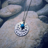 Rock Climb Fearless Necklace with Turquoise Nugget, Rocking Climbing Jewelry, Rock Climb Necklace, Climb On