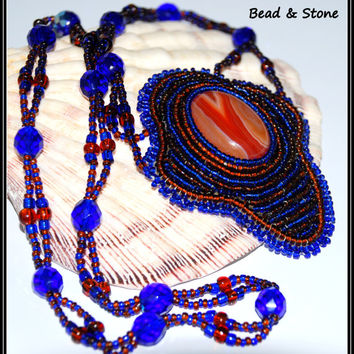 NO SHIPPING COST!! Embroidery necklace - beaded jewelry - brown, blue - beaded necklace - handmade necklace - statement necklace