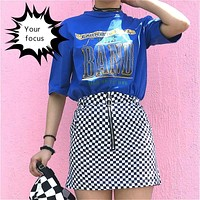 2017 summer harajuku retro rok punk ins hot black white plaid  circle zipper mini skirt metal buckle high waist zipper skirt