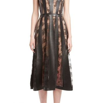 Christopher Kane Lace & Faux Leather Dress | Nordstrom