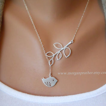 Detailed Bird and Branch Lariat - Silver Necklace - Dainty little silver grey bird and Branch - Perfect Gift - Sterling Silver Chain