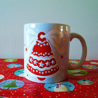 Very Unique Waechtersbach Christmas Mug,  Blue Waechtersbach Germany Christmas Bell Mug, Waechtersbach Light Blue Mug in Christmas Tree