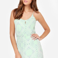 Lucy Love Nightengale Mint Print Dress