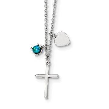 925 Sterling Silver Rhodium-Plated Synthetic Blue Opal Cross Necklace 18 Inch