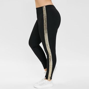 High Waisted Leggings with Sequined
